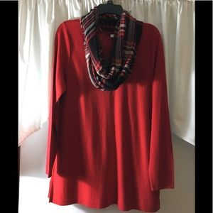 J.Jill red tunic sweater and matching plaid scarf
